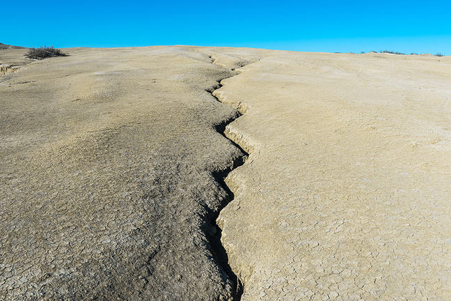 Cracked earth, earthquake