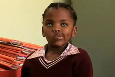 A girl in a South African classroom
