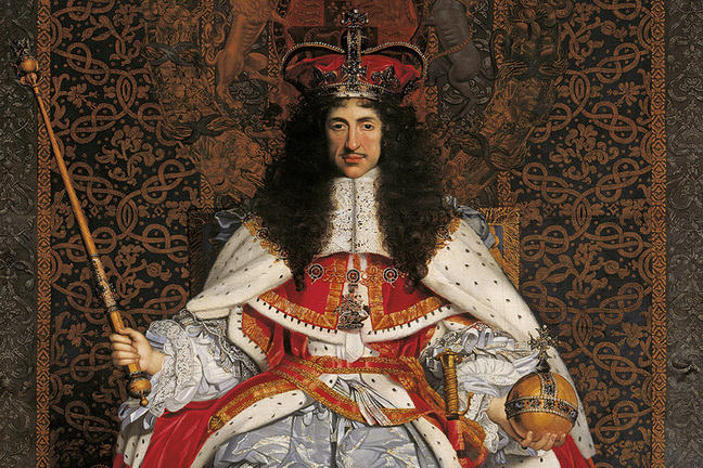Detail of Charles II wearing decadent red robes and a crown.