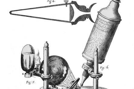 Robert Hooke's microscope, _Micrographia_, 1664