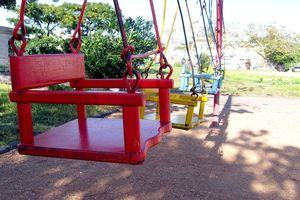 Colourful swings in a children's playground