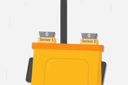 line sensor robot with two sensors driving down a line
