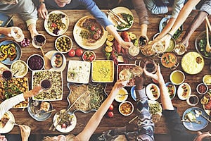 An table seen from above with healthy foods