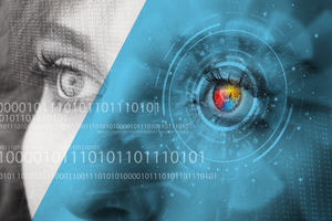 A woman looking into the distance with a cyber technology panel laid over her left eye.