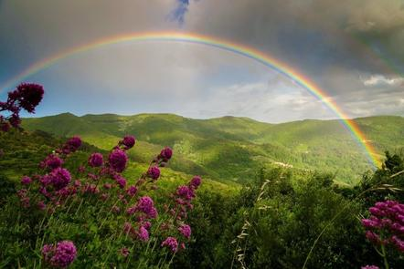 Rainbow over hills