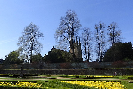 Photo of the Italian Garden at Penshurst Place with Penshurst Church in the background