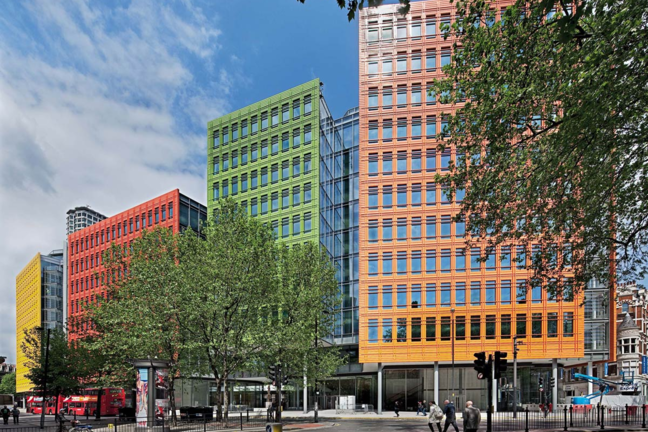 Brightly coloured contemporary architecture in central London