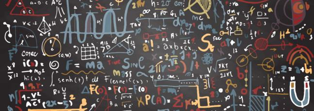algebraic equations written on a blackboard