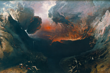 The Great Day of His Wrath painting depicting destruction of Babylon and the material world by natural cataclysm