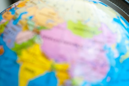 Soft focus image of a globe map