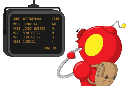 Robot looking at a train timetable on a screen