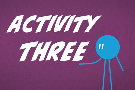 A cartoon icon of a person with 'Activity 3' written in the centre.