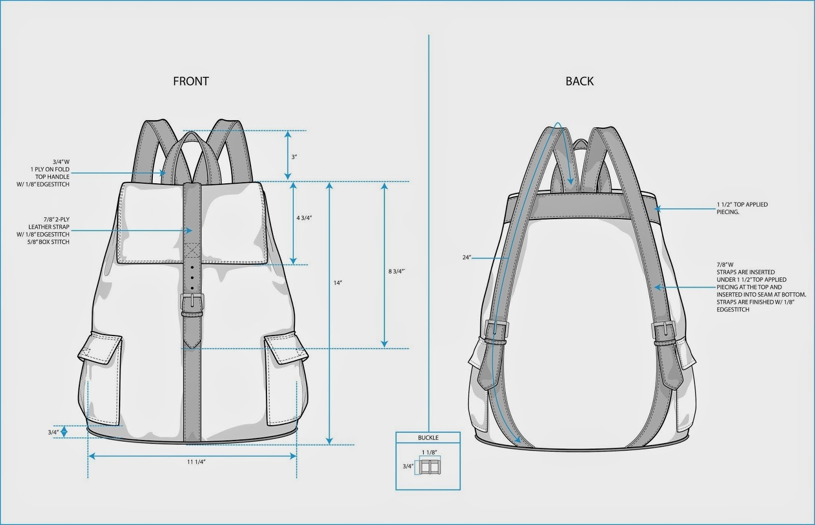 example tech pack for a rucksack design