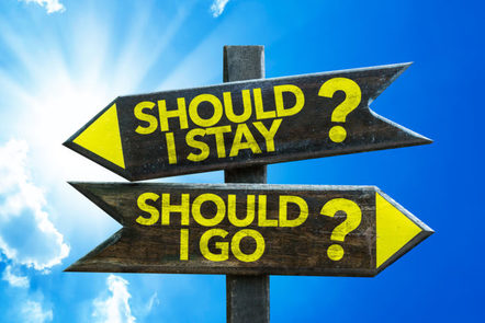 "Image with signs saying ""Should I stay?"" or ""Should I go?"". This illustrates the idea of tension."