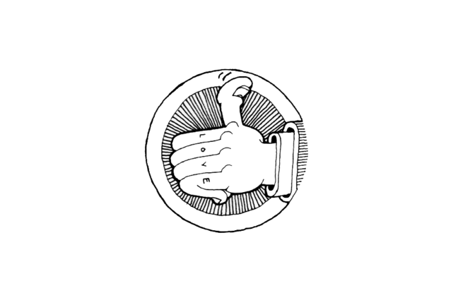 Cartoon drawing of a hand with thumbs up