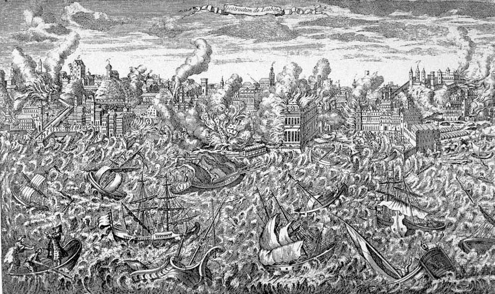 1755 copper engraving showing Lisbon in flames and a tsunami overwhelming the ships in the harbour