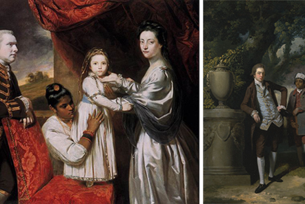 Two British portraits: Joshua Reynolds 1765 George Clive and family with unnamed Indian maid and c.1765 John Hamilton Mortimer and unnamed Indian servant