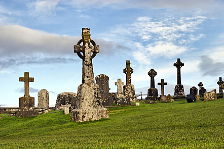 Celtic crosses at the Rock of Cashel, County Tipperary, Ireland.