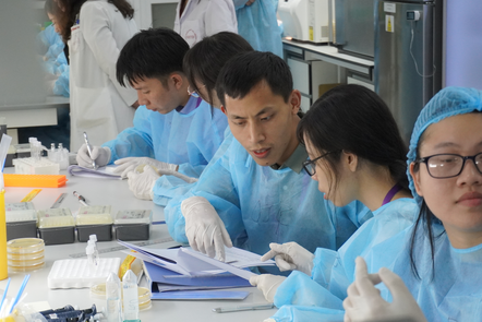 group of learners in the lab
