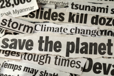 Newspaper clippings 'Save the planet'