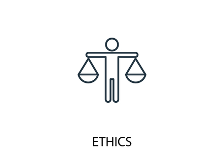 Icon showing person holding two scales with word ETHICS