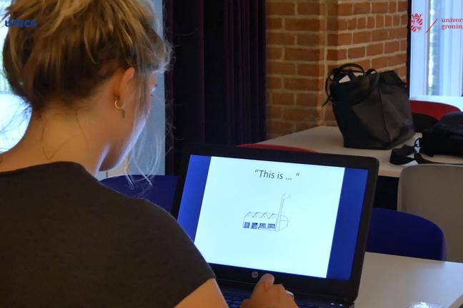 A participant taking a test