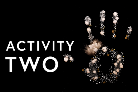 Hand print with text saying activity 2