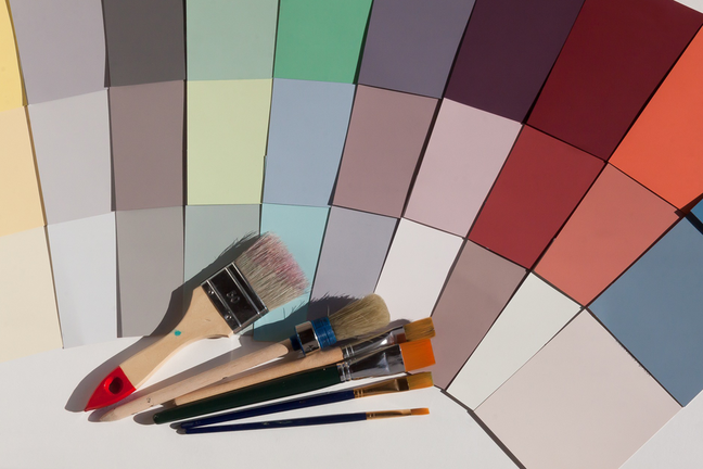 Paint brushes and colours