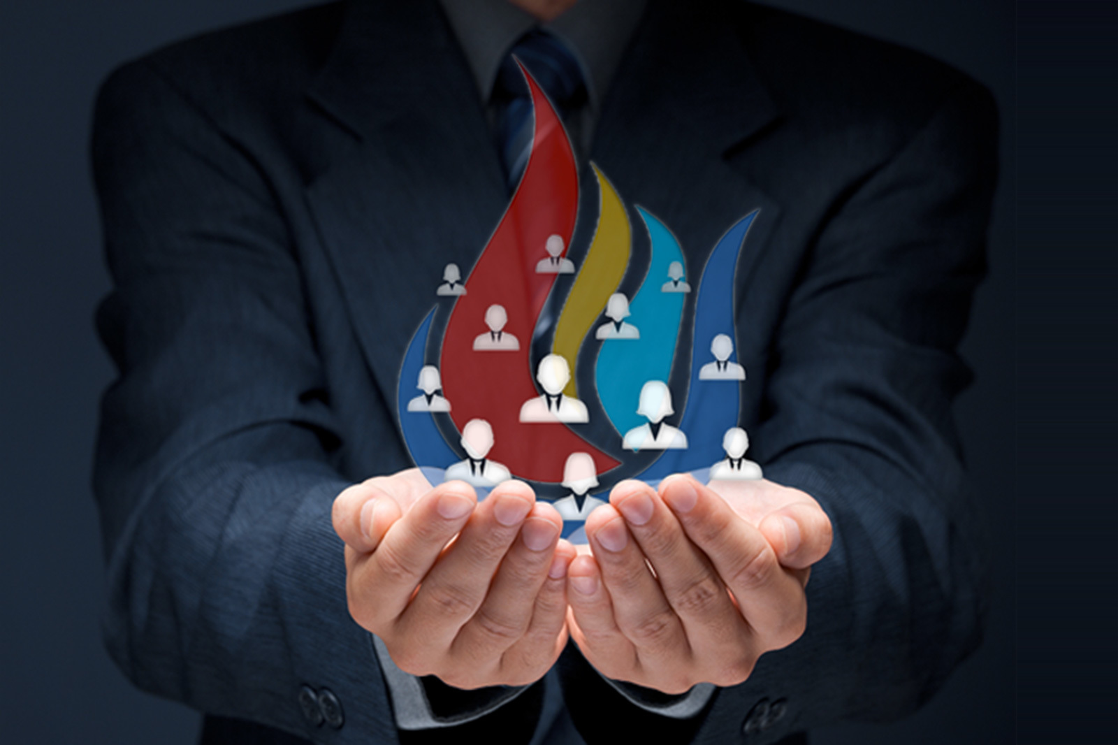 Middle East Map Your Child Learns%0A eFIRE  a businessman holding in his hands icons representing team members   surrounded by coloured