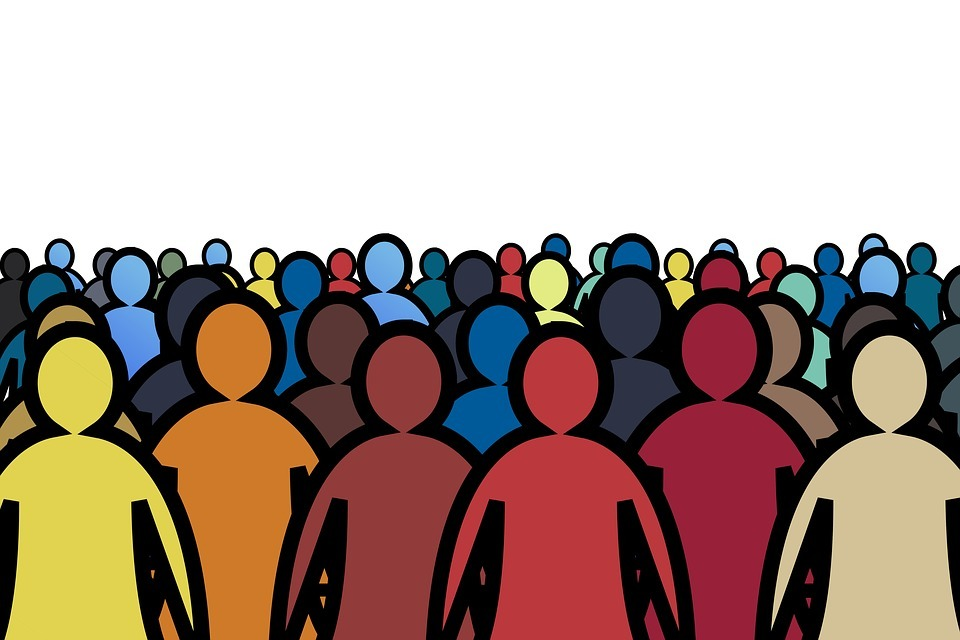 Crowd of colourful sillouettes of people
