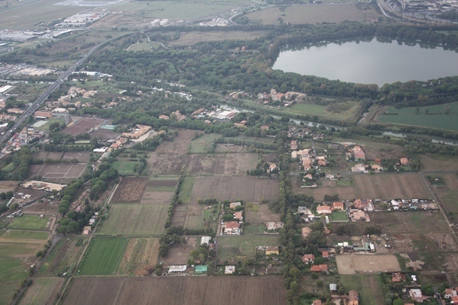 View of the Trajanic Basin, the Fiumicino Canal, the Via Flavia and Isola Sacra cemetery