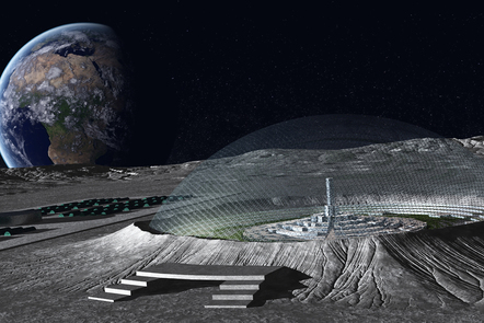 Depiction of a lunar city with earth seen in the background in space