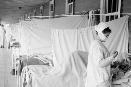 Flu ward, USA, 1918: LIBRARY OF CONGRESS / SCIENCE PHOTO LIBRARY / Universal Images Group