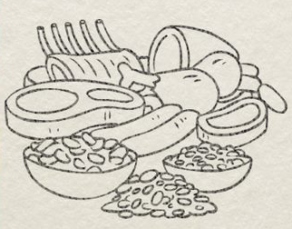 Illustration of iron-rich foods, including lean meats and beans.