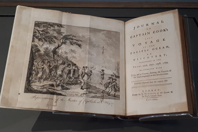 Front page reads Journal of Captain Cook's last voyage to the Pacific ocean, on Discovery