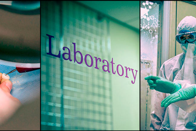 Three images together: The one on the far left is an image of a loose tooth being drilled for isotopes, the middle image is the door of the lab and the right image is of people in white coveralls for working with DNA