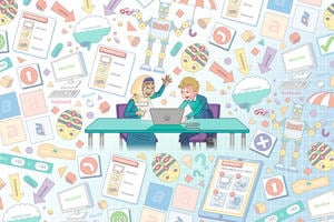 A collage of key illustrations that appear throughout the course representing the topic of Inclusion - such as students working together, resources, checklists, equipment