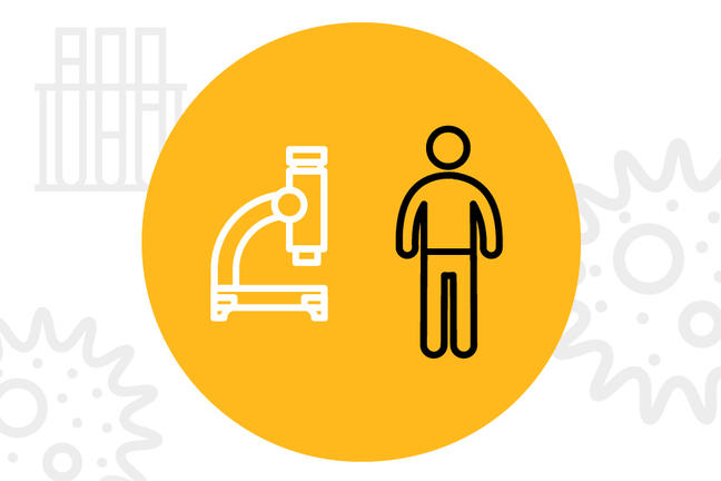 A cartoon image of person is standing beside a microscope. A yellow circle contains both figures while sketches of microscopic organisms and a rack of test tubes is seen on the white background.