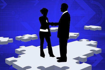 Illustration of silhouetted business man and woman shaking hands