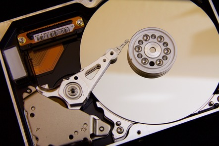 A photograph of a hard drive