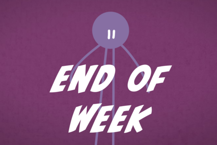 A cartoon icon of a person with 'end of week' written in the centre.