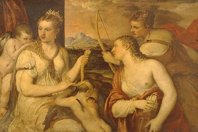 The image shows Venus as a nude and the mischievous figure of Cupid walking at her side, carrying a honeycomb.