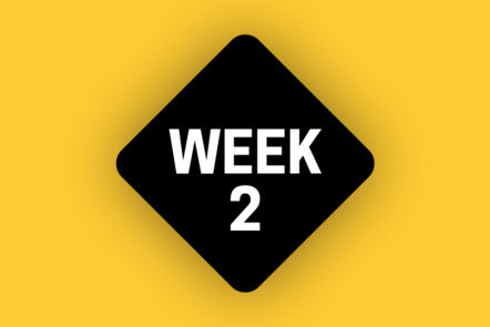 A black icon on a yellow background says WEEK 2