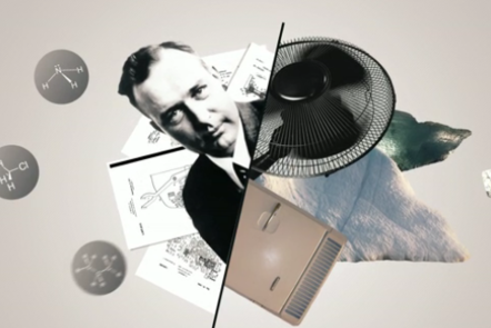 An image of Thomas Midgely with small images of his various inventions.