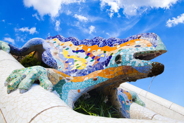 Parc Guell Lizard Fountain by Gaudi in Barcelona, Spain