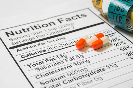 Tape measure, pharmaceuticals and label with nutrition information.