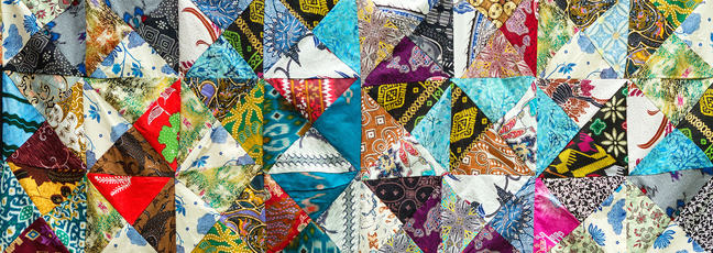 Quilt with distinct colour and abstract patterns