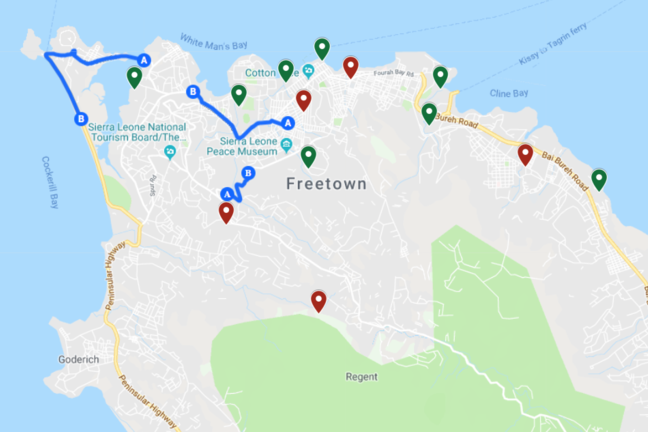 Image showing a map of Freetown with a number of markers throughout the city.