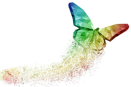 A multicoloured butterfly comes to life through a trail of dust. How can innovation materialize in a similar way?