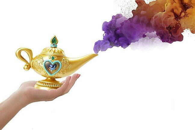 A hand holds a 'magic lamp' with weirdly coloured smoke pouring from the spout
